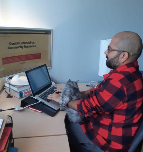 Abhi Kantamneni works on the GuelphCoronavirus page