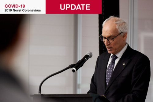 President Vaccarino at a microphone. Text: COVID-19 novel coronavirus Update