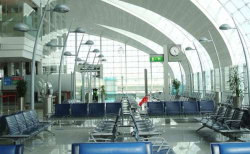 An empty airport waiting area in Dubai