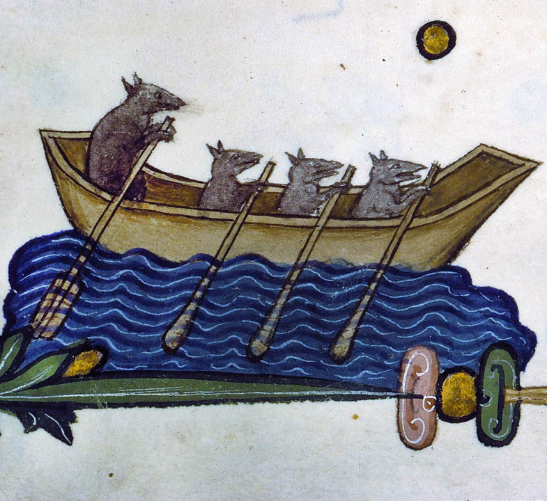 Four rats rowing a little boat in the margins of Pontifical of Guillaume Durand,