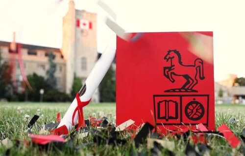 Red graduation box on Johnston Green
