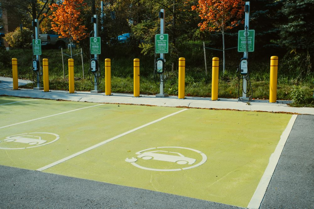 Electric vehicle charging stations in a U of G parking lot