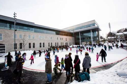Busy outdoor skating rink