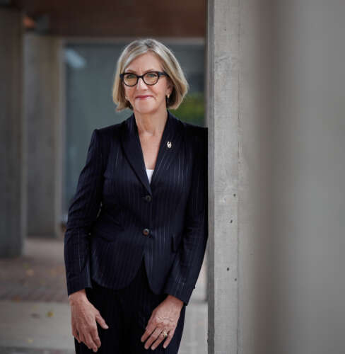 University of Guelph president Charlotte Yates in campus hallway