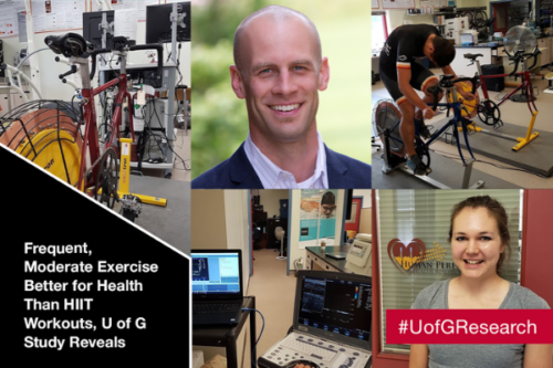 A photo collage of Dr. Jamie Burr, Heather Petrik and ergometric cycles
