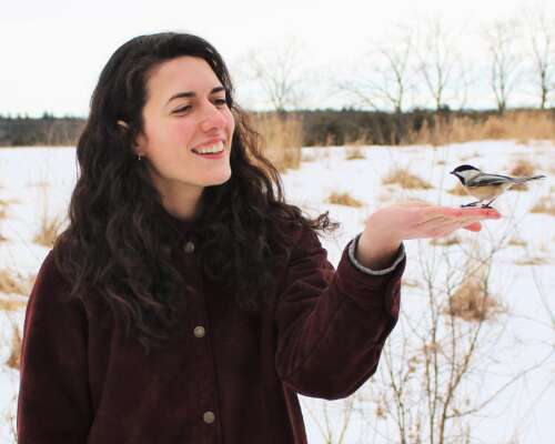 Hayley Wilson stands in a field feeding a chickadee from her hand.