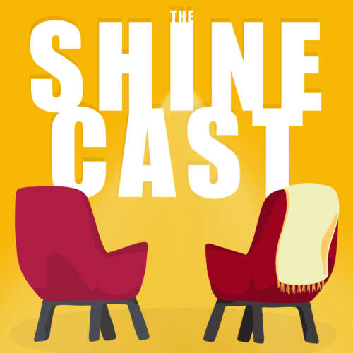 Graphic of two red chairs face-to-face, with the words The Shine Cast