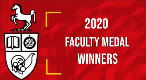 """U of G crest and text """"2020 Faculty Medal Winners"""""""