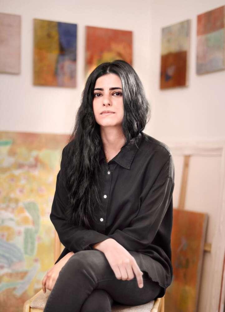 A photo of AzadehElmizadeh in an art studio