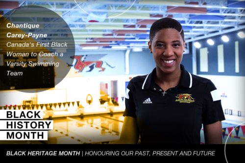 Graphic showing Chantique Carey-Payne above a pool with text reading Canada's Frist Black Woman to Coach a Varsity Swimming Team