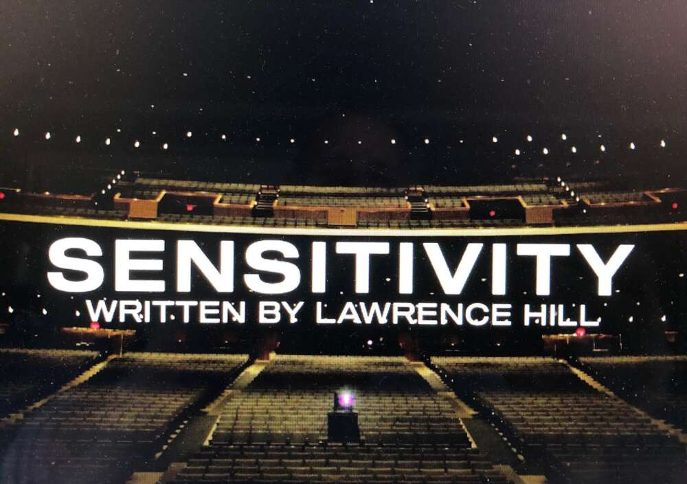 Graphic shows an empty theatre with the text: Sensitivity Written by Lawrence Hill