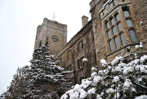 A photo of the Johnston Hall building in winter