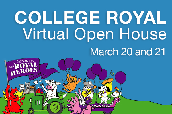A cartoon images of farm animals. Text reads: College Royal Virtual Open House March 20 and 21