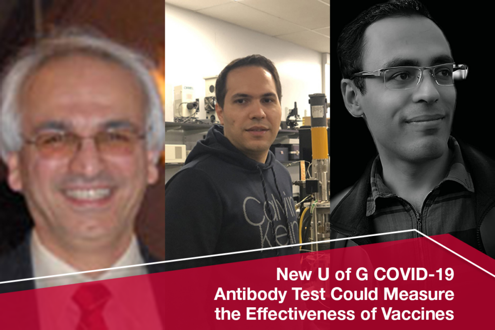 Graphic shows Dr. Khashayar Ghandi, Arash Fattahi and Pooya Afaghi. Text reads: News U of G COVID Antibody Test Could the Effectiveness of Vaccines