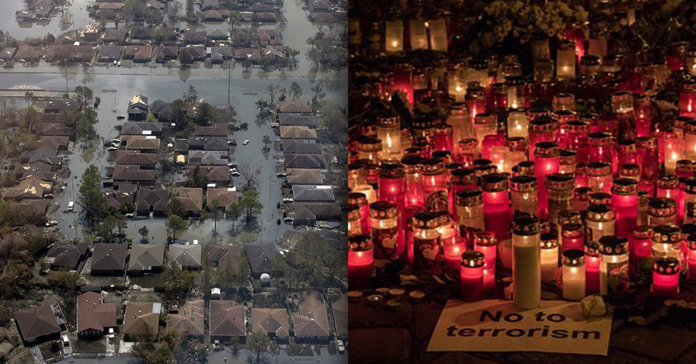 An aerial view of a flooding disaster next to candles at anti-terrorism vigil