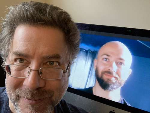 Dr. David Pearl, front, and PhD candidate Mohammad Howard-Azzeh on a Zoom call.