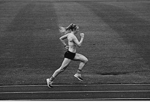 Runner in full sprint