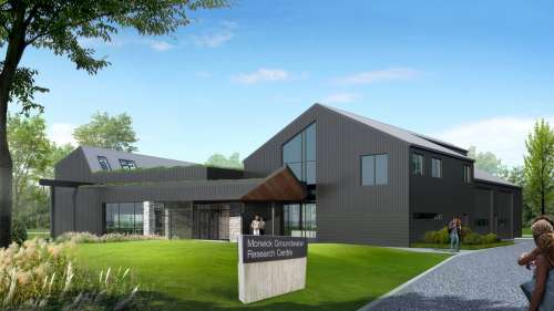 architectural rendering of the Morwick Ground Water Research Centre, grey building on green grass