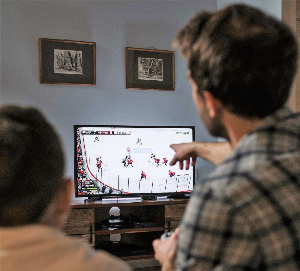 Two people watching a hockey game on TV are seen from behind