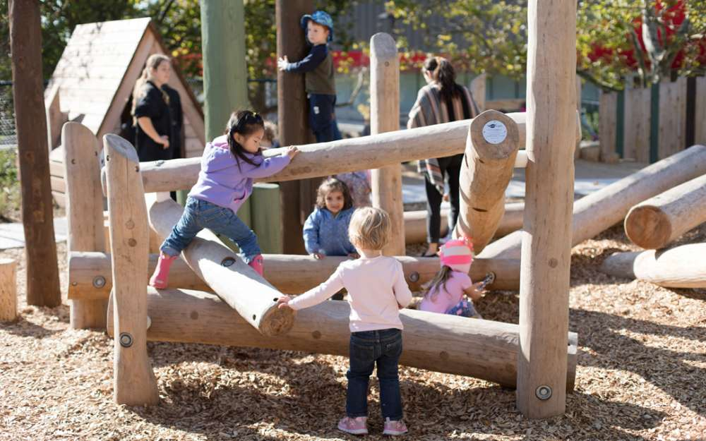 Children play and climb on logs within the playspace