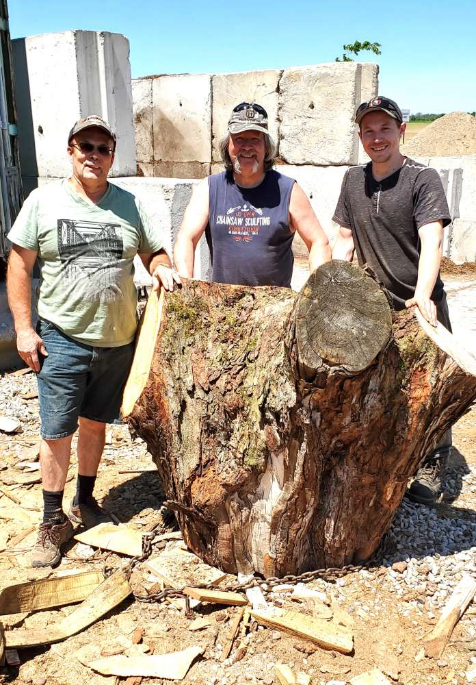 Three men with a very large tree stump