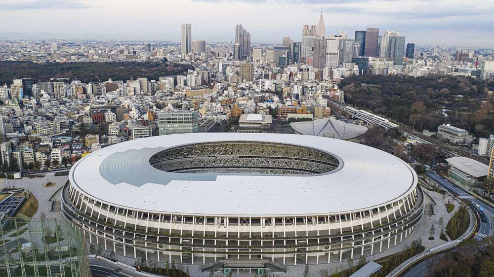 An aerial view of Tokyo's National Stadium