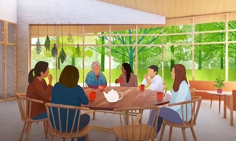 An artist rendering of the future Nokom's House kitchen