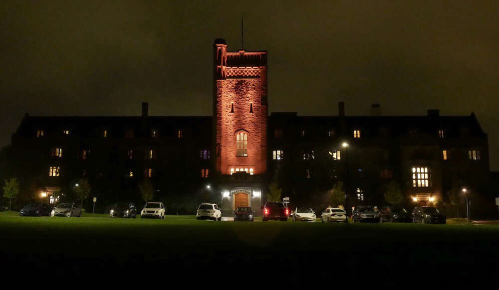Johnston Tower lit up orange for Truth and Reconciliation Week