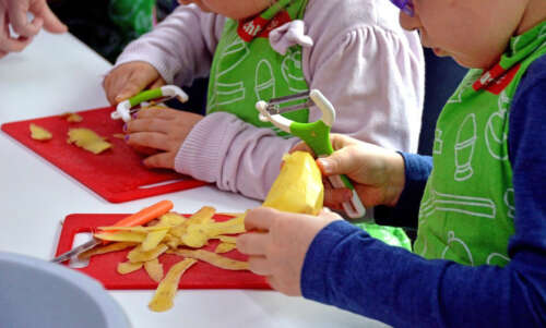 Two young children wear aprons and peel potatoes on